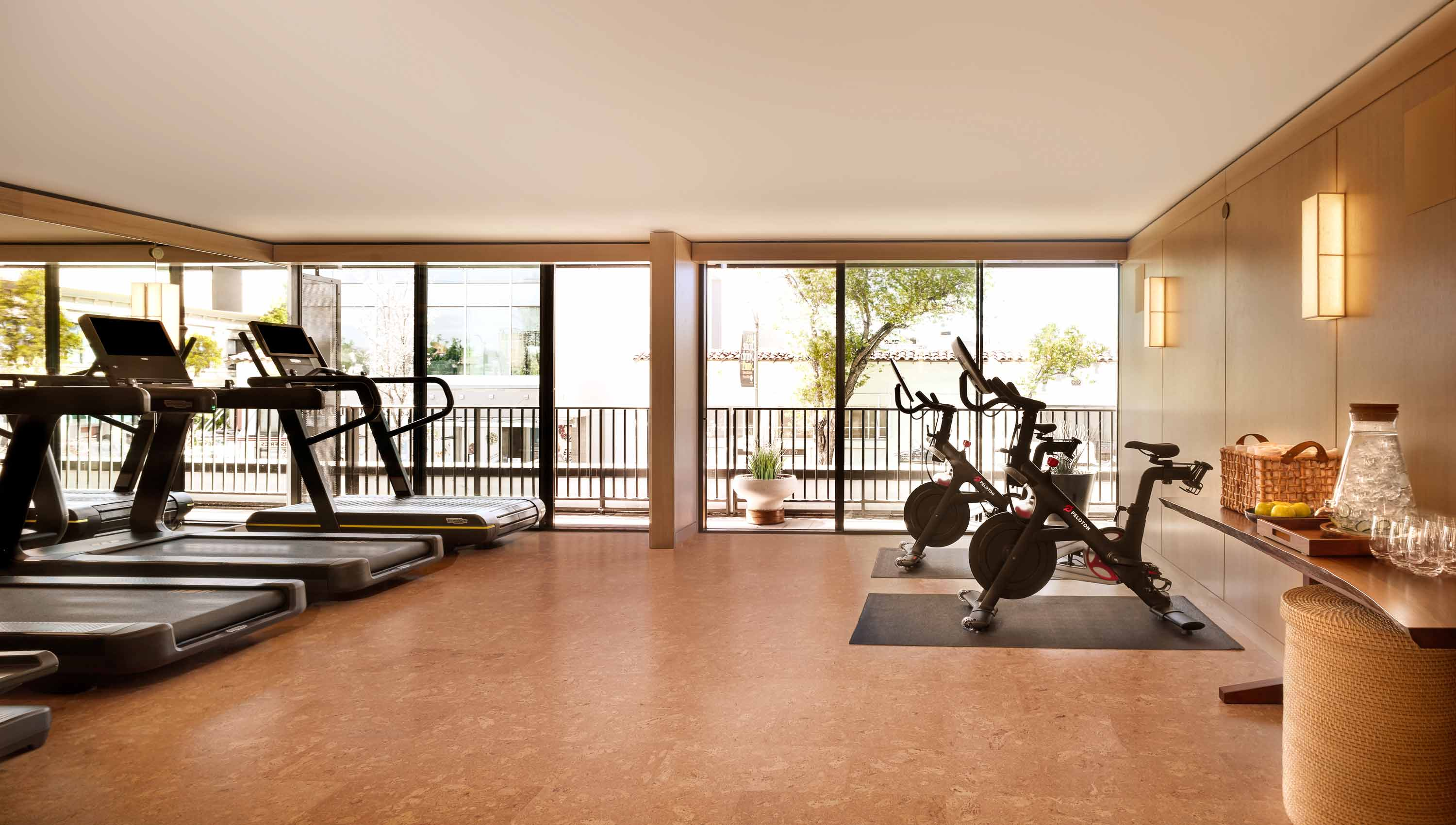 Fitness center with treadmills and stationary bikes