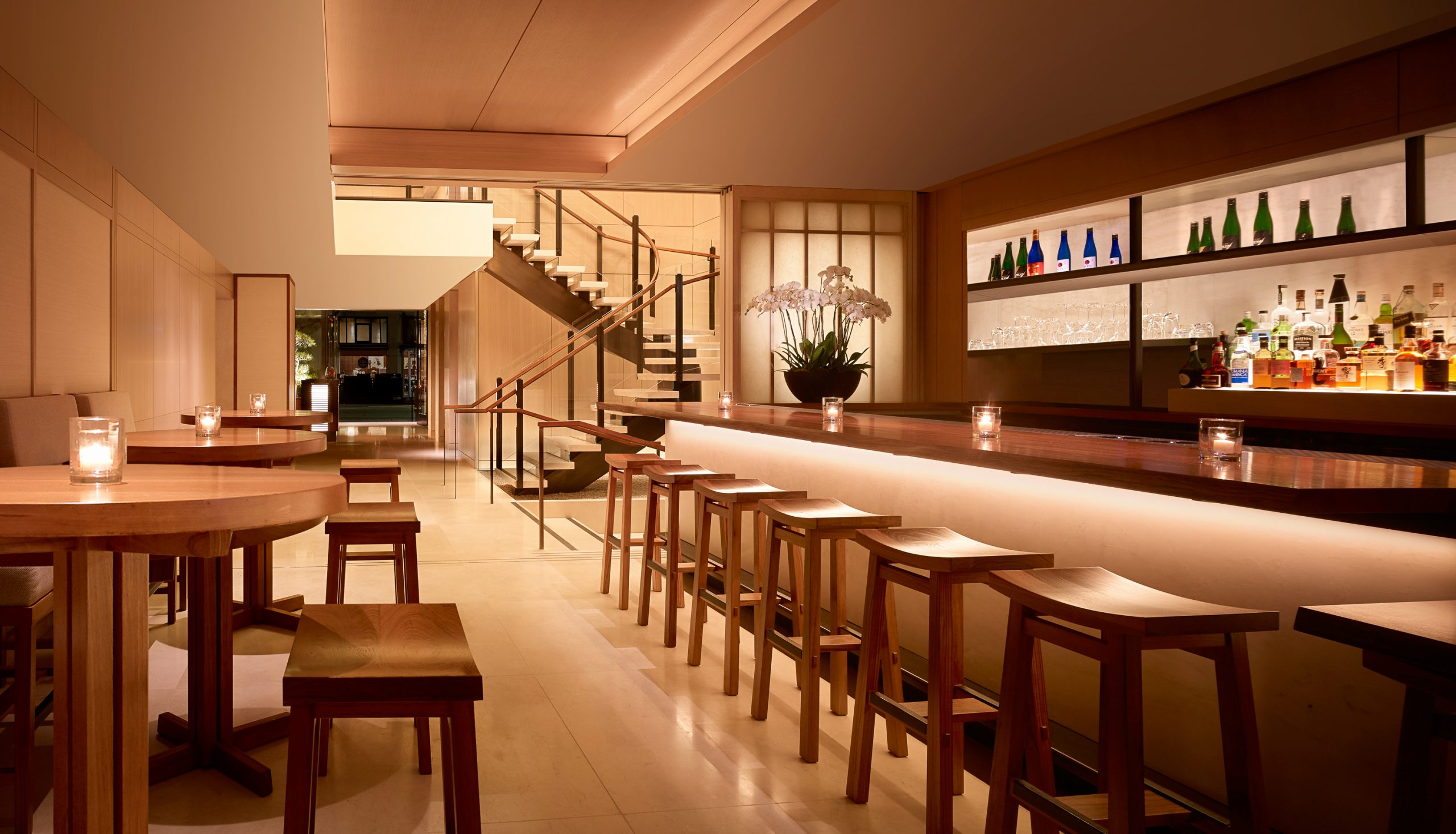 Nobu lobby and bar with staircase