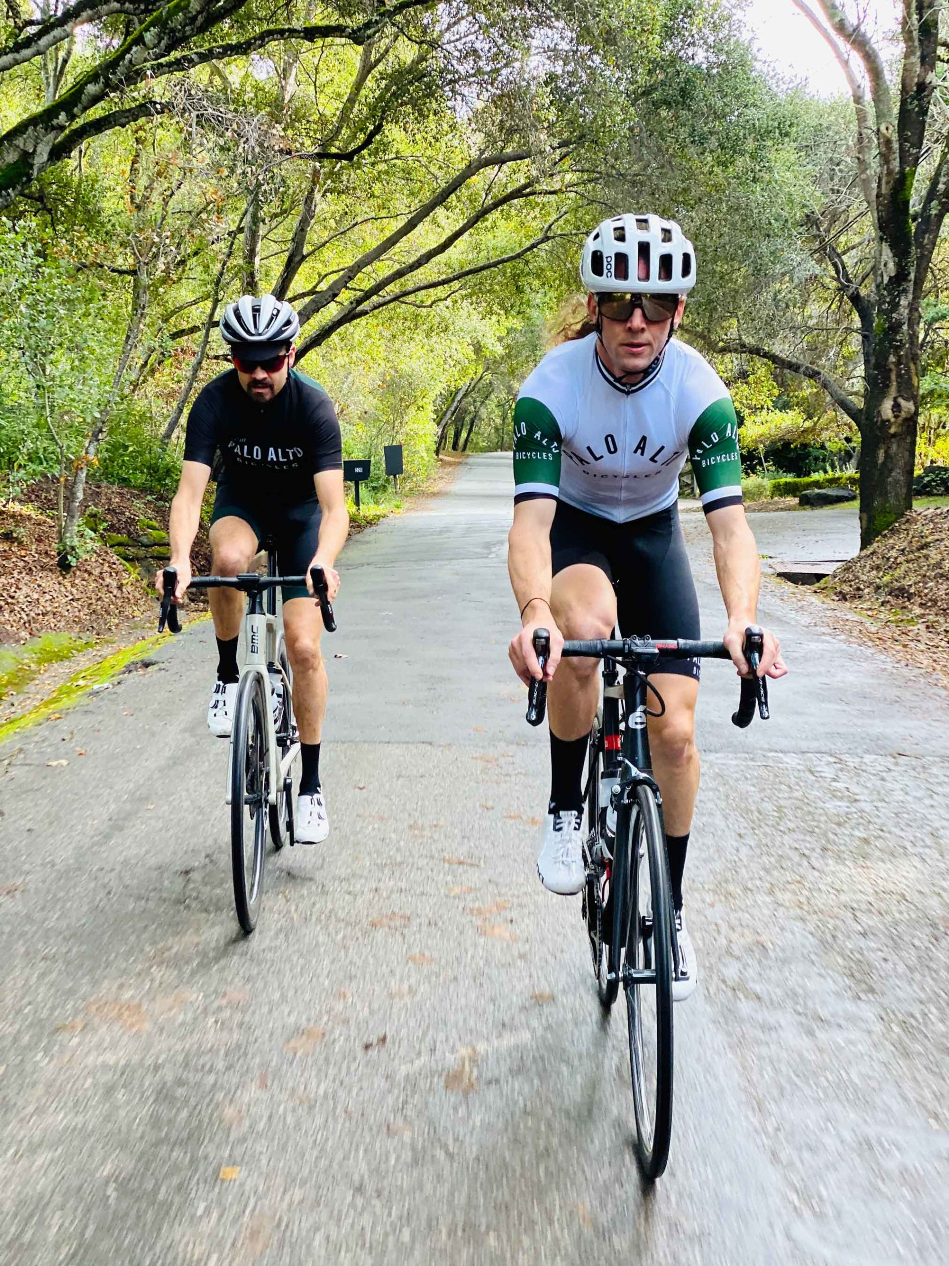 two men in palo alto shirts cycling on road